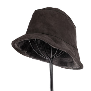 Women's Shearling Bucket Hat: Charcoal Grey