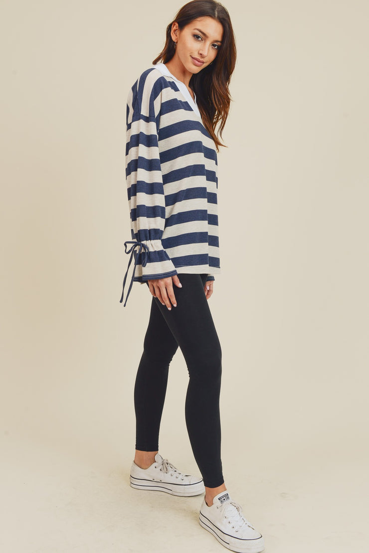 Drop Shoulder Long Sleeve Top with Collar & Draw String Detail