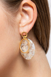 Resin earrings with gold plated hoop design and post back closure
