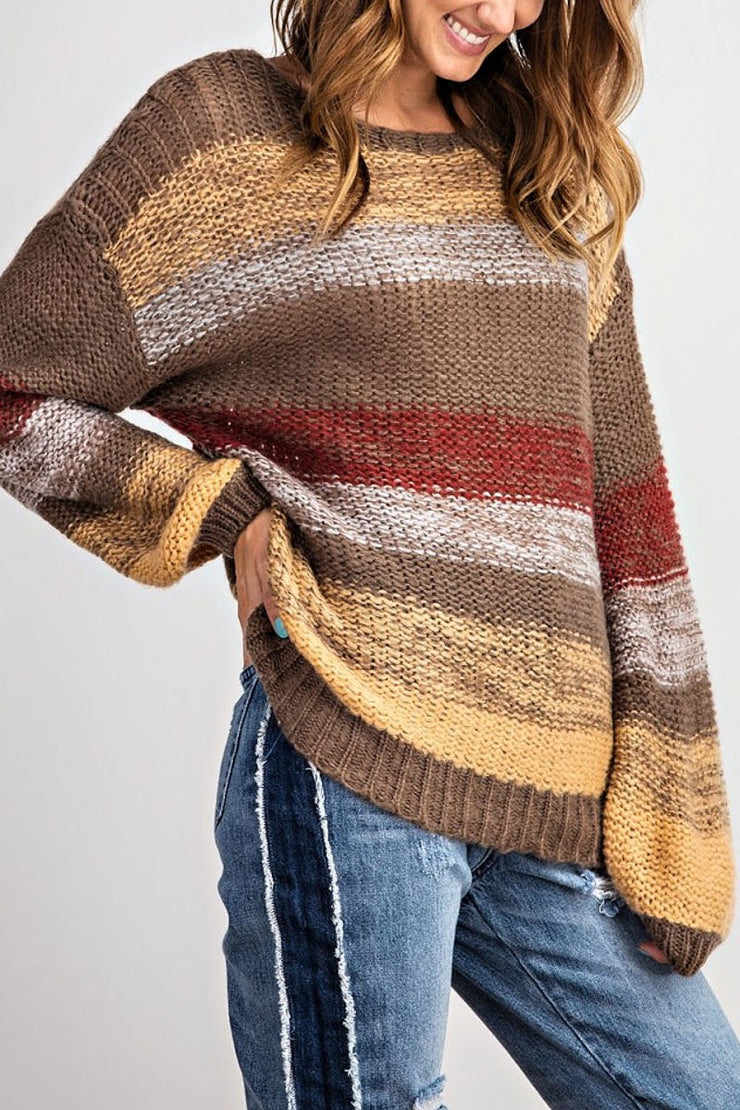 Long Sleeve Multi Color Striped Knit Sweater
