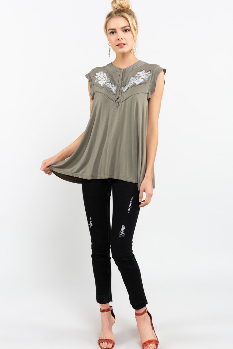 Rayon Jersey Cap Sleeve Top with Flower Patch Detail