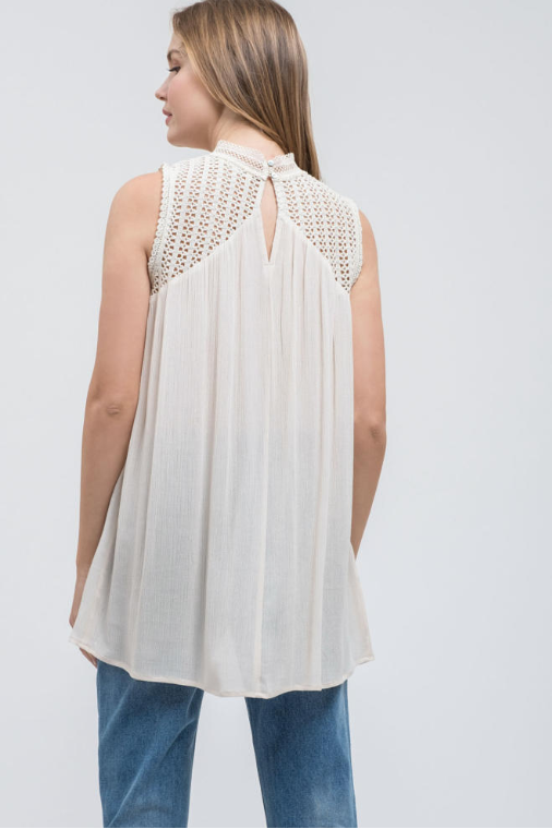 Sleeveless Top with Ruffle Detail