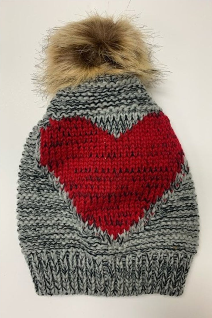 Red Heart Design Gray PomPom Beanie