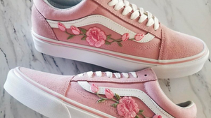 Pink Roses Vans Shoes