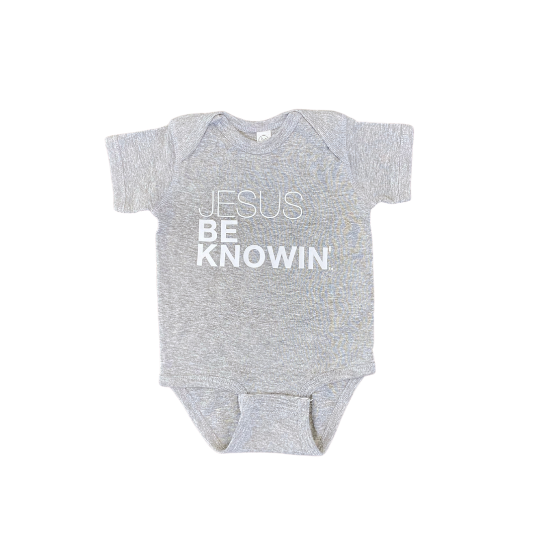 Jesus Be Knowin' | Grey + White Onesie