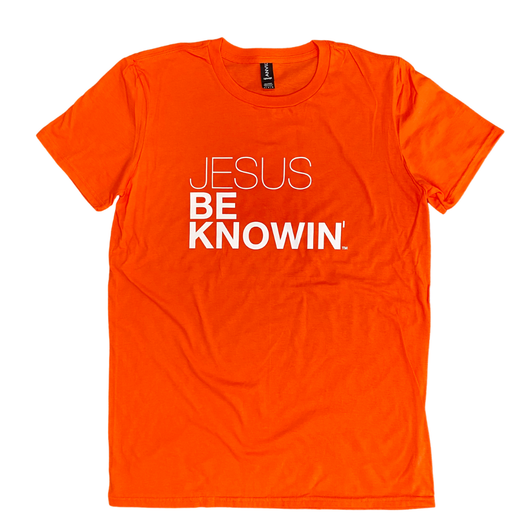 Jesus Be Knowin' | Orange + White Tee