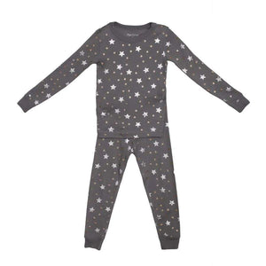 Grey Stars Long Sleeve Pajamas - Honey Bug