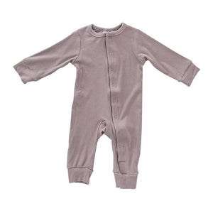 Dusty Plum Ribbed Footless One-piece - Honey Bug