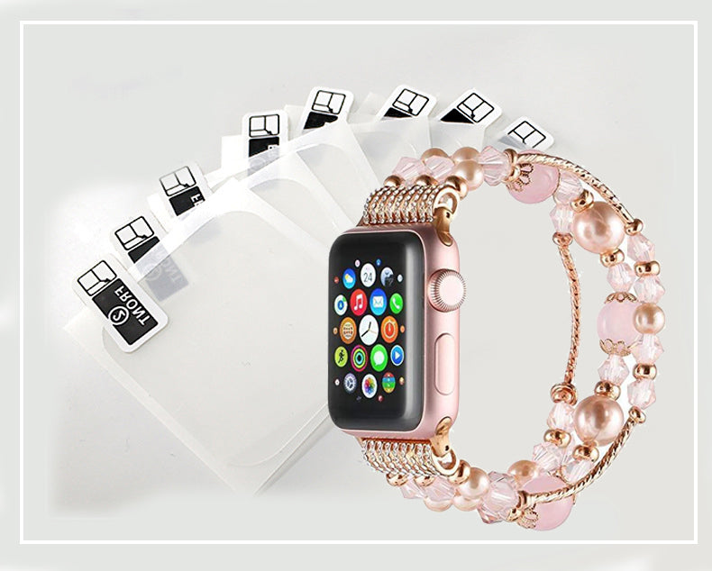 Handmade Fashion Beaded Elastic Bracelet Band for Apple Watch Series 4 3 2 1(Buy Now Get Free Tempered film 10pcs)
