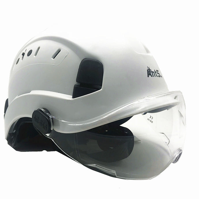 PPE Safety Helmet with built in safety goggles.