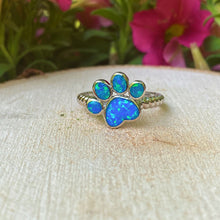 Load image into Gallery viewer, Blue Opal Paw Print Ring