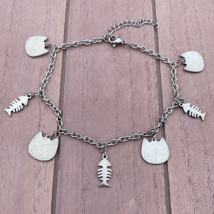 Cat and FishBone Anklet
