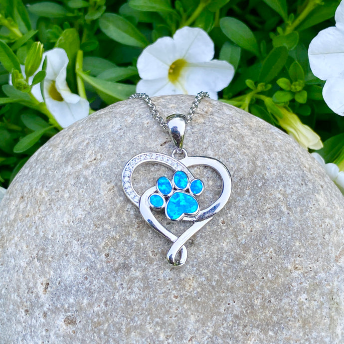 Blue Opal Heart & Paw Necklace