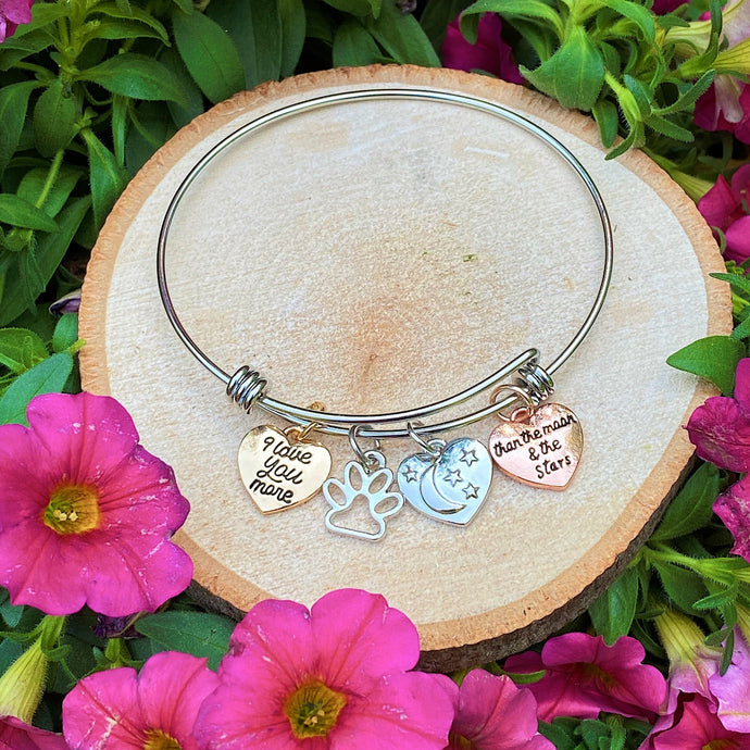 Paw Love Moon & Stars Bangle Bracelet