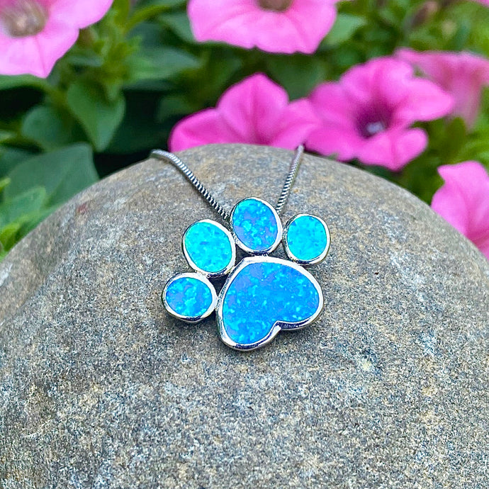 Blue Opal Paw Print Necklace