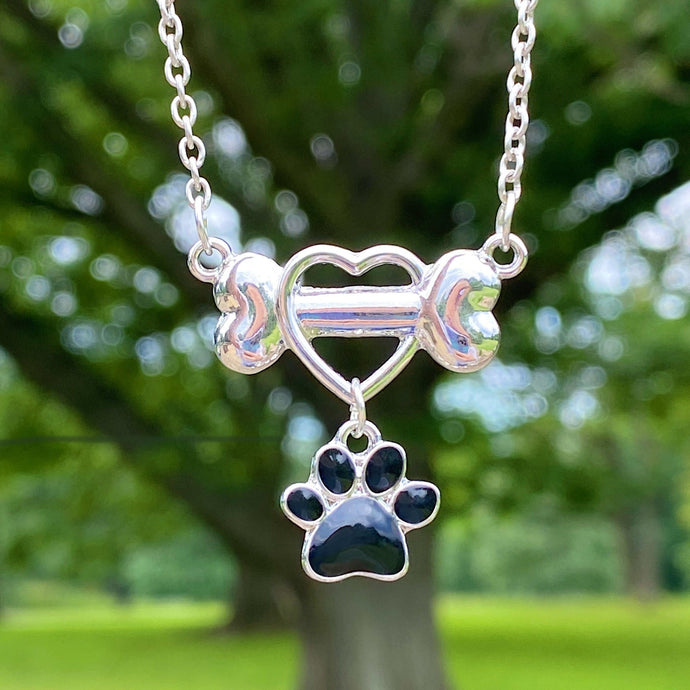 Dangling Heart Paw Necklace
