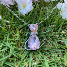 Load image into Gallery viewer, Pink Gemstone Cat Necklace
