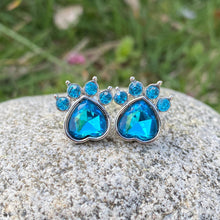 Load image into Gallery viewer, Sky Blue Gemstone Paw Earrings
