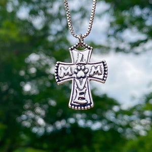 Paw Mom Love Cross Necklace