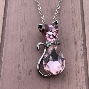 Pink Gemstone Cat Necklace