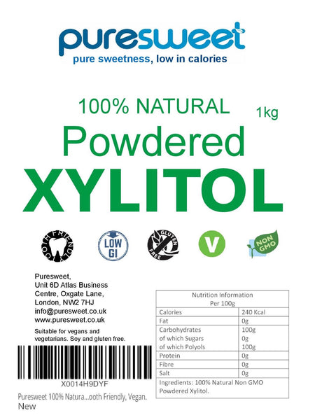 Puresweet 100% Natural Powdered Xylitol 1kg, Tooth Friendly, Vegan, Non GMO.