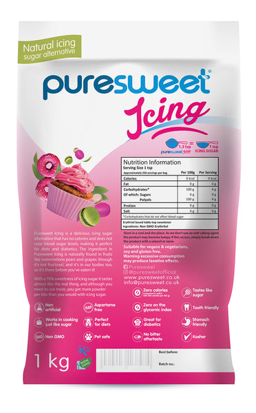 Puresweet Icing, 100% Natural Zero Calorie Icing Sugar Alternative 1kg, No bitter aftertaste, Diabetic Friendly, Tooth Friendly, Vegan, Non GMO (Recyclable Pouch)