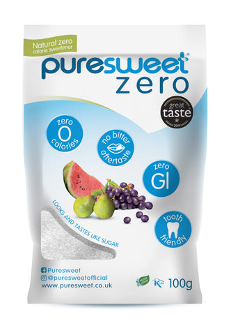 Puresweet Zero® 100% Natural Zero Calorie Sweetener 100g, No bitter aftertaste, Diabetic Friendly, Tooth Friendly, Vegan, Non GMO.
