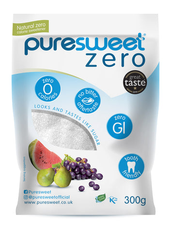 Puresweet Zero® 100% Natural Zero Calorie Sweetener 300g, No bitter aftertaste, Diabetic Friendly, Tooth Friendly, Vegan, Non GMO.