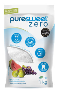 Case of 6 x 1kg wholesale price RRP 10.89 With free delivery - Puresweet Zero® 100% Natural Zero Calorie Sweetener 1kg, No bitter aftertaste, Diabetic Friendly, Tooth Friendly, Vegan, Non GMO.