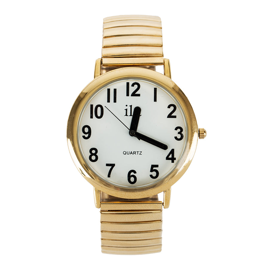 Image of Easy To See Watch White Face Black Numbers Gold Tone Expansi