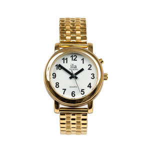 Image of Ladies Talking Date Time Watch-Gold Finish Expansion Band