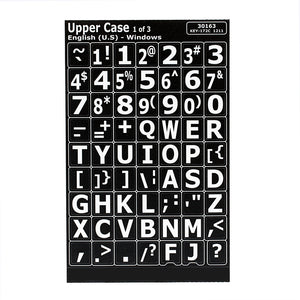 Image of Large Print Keyboard Labels - White On Black