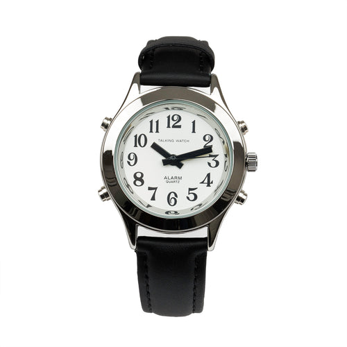 Ladies Talking Watch Alarm-Silver Finish Black Leather Band