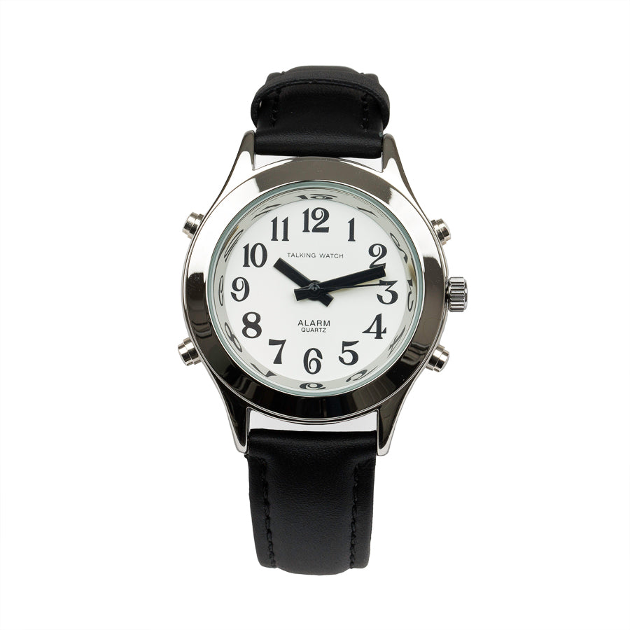 Image of Ladies Talking Watch Alarm-Silver Finish Black Leather Band