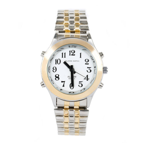 Ladies Talking Watch Alarm-Gold Silver Finish Expansion Band
