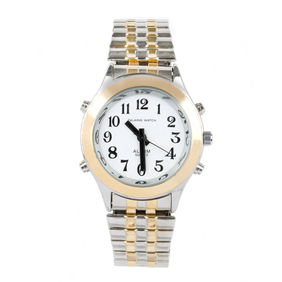 Image of Ladies Talking Watch Alarm-Gold Silver Finish Expansion Band