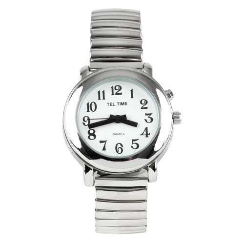 Ladies Talking Watch - Silver Finish With Expansion Band