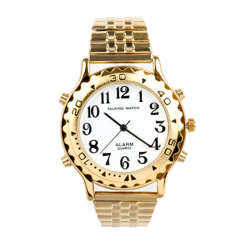 Mens Talking Watch Alarm-Gold Finish With Expansion Band