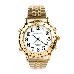 Image of Mens Talking Watch Alarm-Gold Finish With Expansion Band