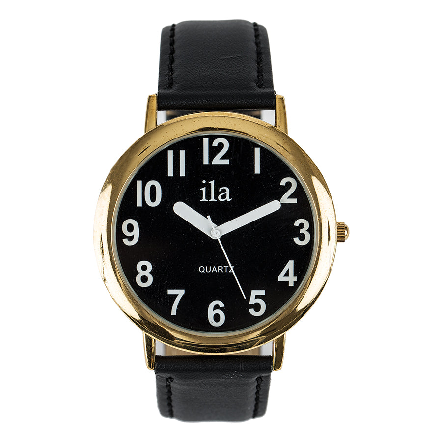 Image of Easy To See Watch Black Face White Numbers Black Leather Ban