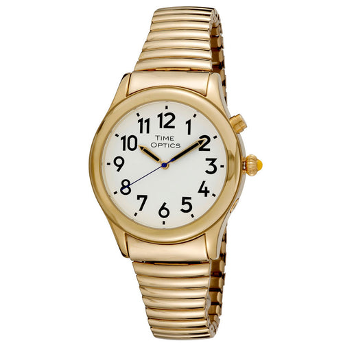 Mens Date Time Watch Alarm Gold Finish Expansion Band