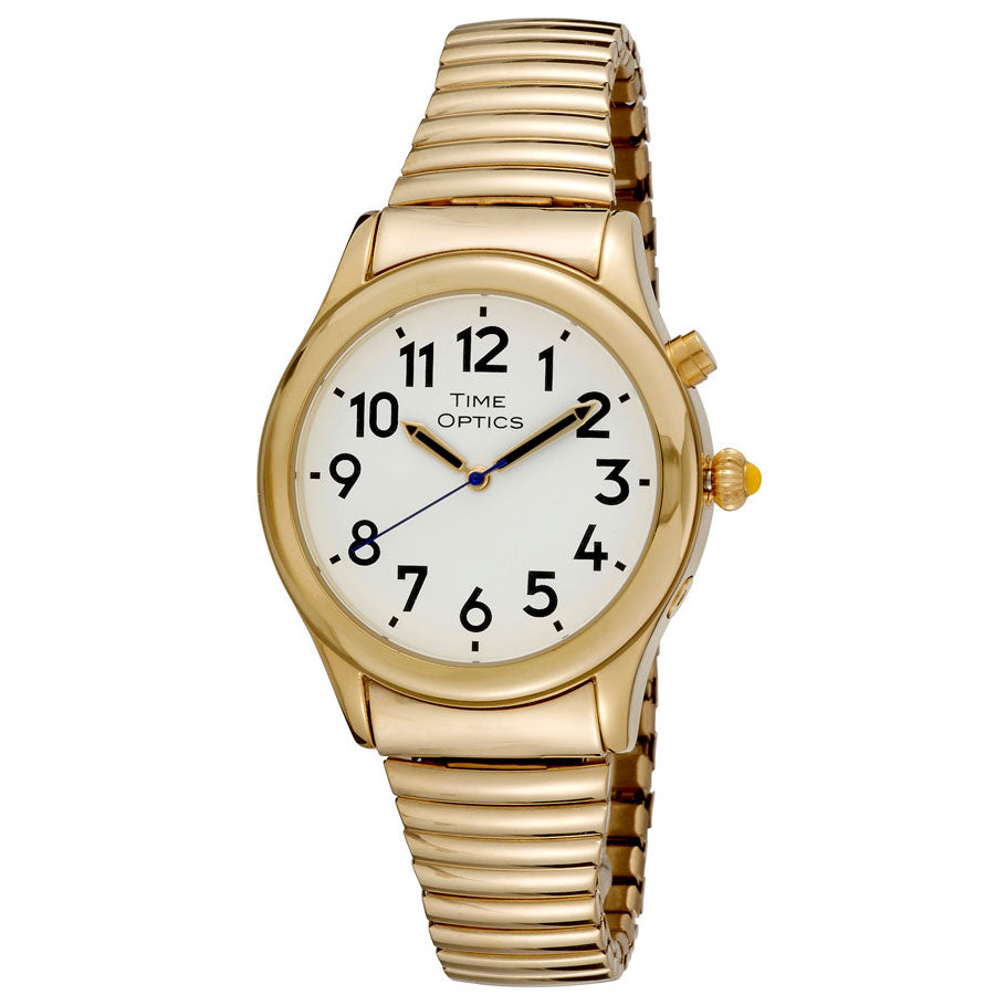 Image of Mens Date Time Watch Alarm Gold Finish Expansion Band