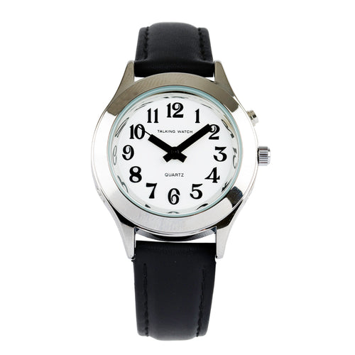 French-Quantum Watch Ladies 1 Butn Slvr Talk Blk Leat Band
