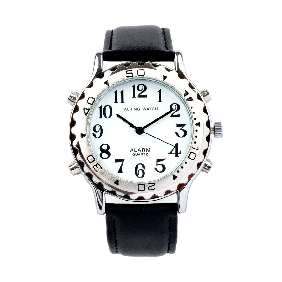 Image of Mens Talking Watch Alarm-Silver Finish Black Leather Band