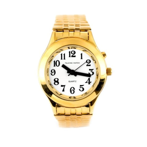 Ladies Talking Watch Gold Finish Exp Band 1 Button