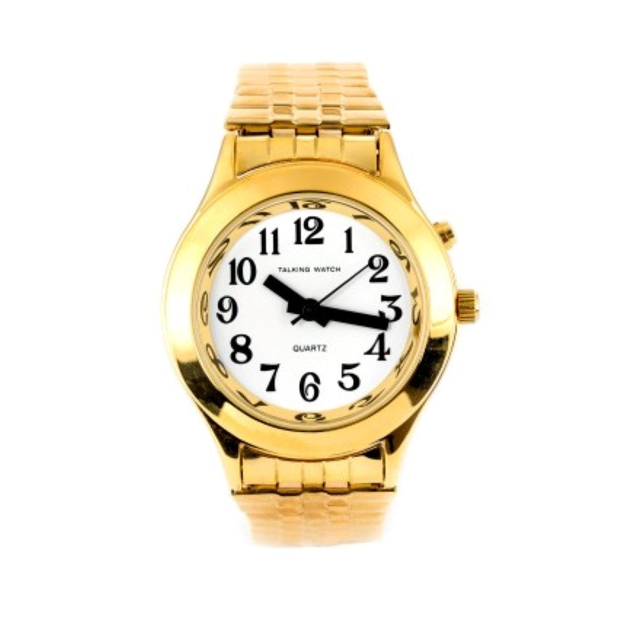 Image of Ladies Talking Watch Gold Finish Exp Band 1 Button