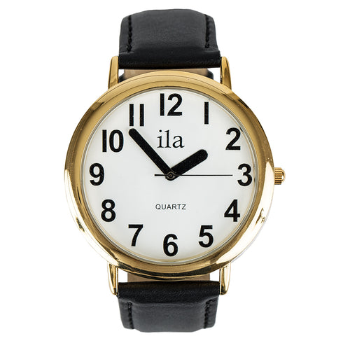 Easy To See Watch White Face Black Numbers Black Leather Ban