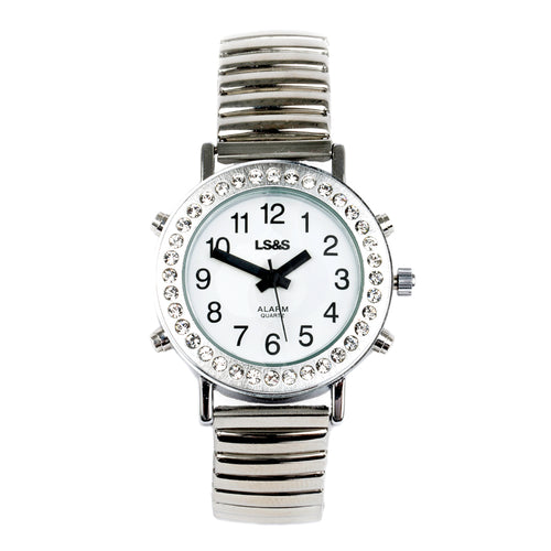 Ladies Tlkg Watch Alarm Rhinest Silver Finish Exp Band