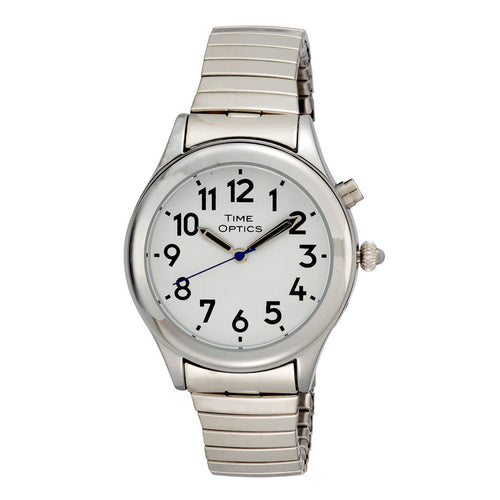 Ladies Date Time Watch Alarm Silver Finish Expansion Band