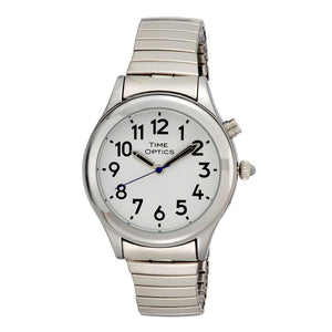 Image of Ladies Date Time Watch Alarm Silver Finish Expansion Band